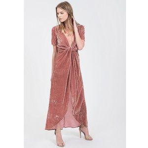 J.O.A. Twist Front Faux Maxi Dress in Dusty Rose